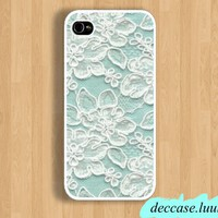 IPHONE 5 CASE Mint Lace word IPhone Case IPhone 4 Case IPhone 4S Case Hard Plastic Case Rubber Case