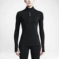 The Nike Pro Hyperwarm Half-Zip Women's Training Top.