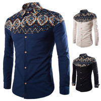 Vintage Print Men's Fashion Slim Fit Shirt