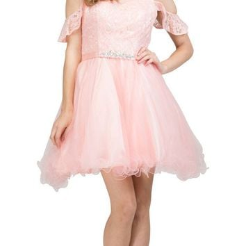 V-Neck Cold-Shoulder Homecoming Short Dress Blush