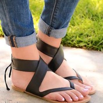 Women's Sandals Flat Gladiator Strappy Lace Up Back Open Toe Design Sandal New