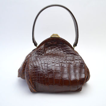 Stunning Vintage Rosenfeld Alligator Purse, Unusual Squat, Boxy Shape, Rich Caramel Brown Handbag, circa 1940s