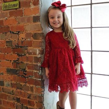 RTS Girls Vintage Burgundy Lace Christmas Dress....Only 14.95!
