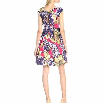 Donna Morgan - D4025M Tie-Back Fit and Flare Print Dress