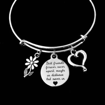 Best Friends Forever Adjustable Bracelet Expandable Charm Bracelet Silver Bangle Trendy Gift