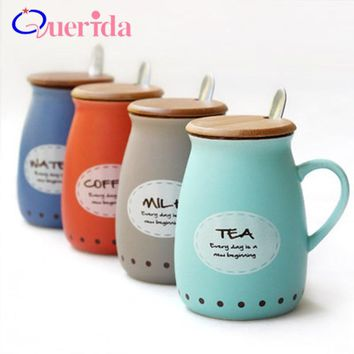 Creative Letters Ceramic Cup Big Belly Cup Body Milk Mug Coffee Mug Home Office Porcelain Tea Cup Cartoon With Lid Spoon Gifts