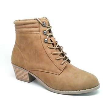 Women's Camel Color Faux Leather Lace Up Boot