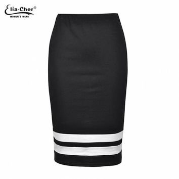 Skirts Black and White Striped Pencil Skirts Plus Size Casual Women Clothing Chic Elegant Sexy Lady Skirt