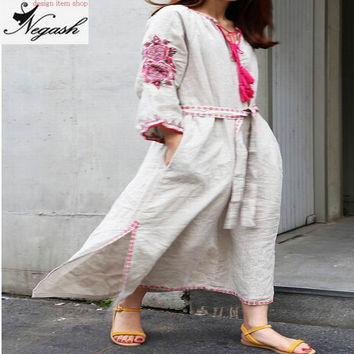 4XL Korean vestidos femininos new High Quality Pink Flower Embroidered Vintage Vintak Rayon Cotton Linen Plus Size Long Dress