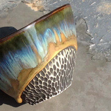 Researved for PurpleT. Hand Built Tea Bowl in Blues, Green and Orange Glaze, Ceramic Art Vessel, Porcelain Pottery.  4 x 4.25 x 3 in. tall
