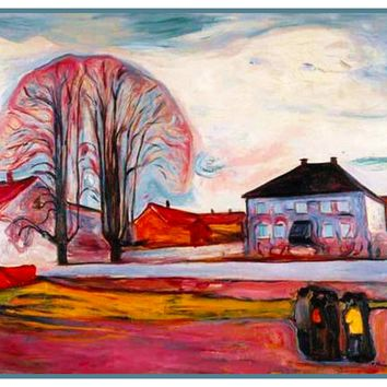 House in Norway Landscape by Symbolist Artist Edvard Munch Counted Cross Stitch or Counted Needlepoint Pattern