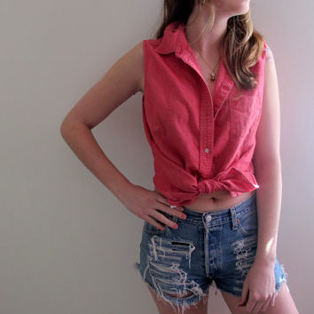 Reverse High Low Hi Lo Shirt Blouse Womens Top Sleeveless Red Jean Denim Tank Button Up Down