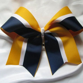 Yellow/Gold, Navy, & White Cheer Bow