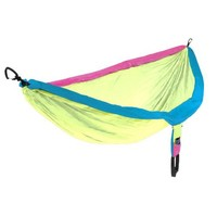 OuterEQ Portable Nylon Fabric Travel Camping Hammock Light Blue/Blue