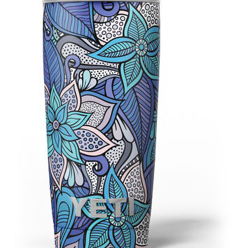 Floral Blues Yeti Rambler Skin Kit