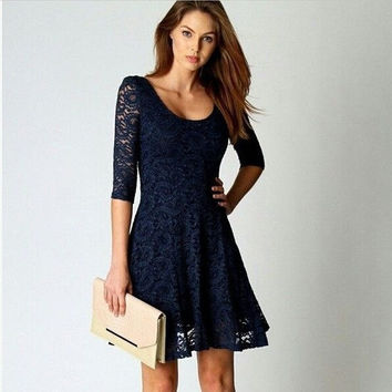 Lace Casual Summer Causal One Piece Dress = 4806999300