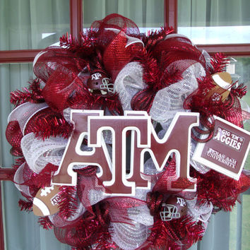 Texas A&M Aggies College Maroon And White Deco Mesh Door Wreath