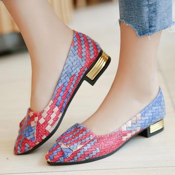 2018 New Flat Shoes Woman Printed Leather Pearl Soft Bottom Women Shoes for Knot Flats Women Work Shoes Zapatos Mujer