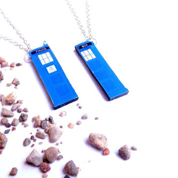 Friendship Necklace, Police Phone Box Necklaces, Dr Who Tardis necklace, Dr Who Jewelry, Tardis earrings, Dr Who, Summer jewelry