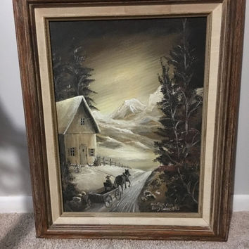 5 DAY SALE (Ends Soon) Vintage 1983 Original Oil Painting -  Signed for Fern Foss by Barry Byoder