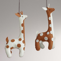 Felt Giraffe Ornaments, Set of 2