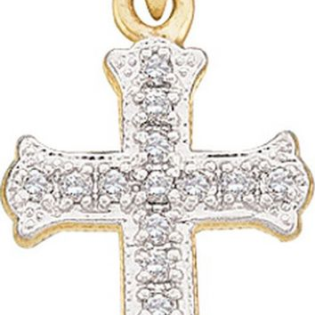 10kt Yellow Gold Womens Round Diamond Scalloped Cross Pendant 1/12 Cttw