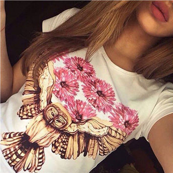 White Floral and Bird Print Short Sleeve T-Shirt