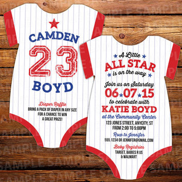 All Star Baby Onesuit Die Cut Baby Shower Invitation -- Double sided in any color