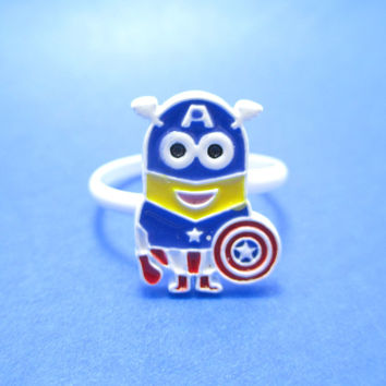 Marvel Minion Captain America Despicable Me Inspired Adjustable Ring | DOTOLY