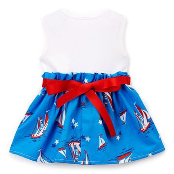 Caught Ya Lookin' Red & Blue Sailboat Bow Dress - Infant & Toddler