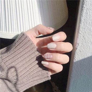 13 Styles choose Fake Nails Elegant Grid Lattice Artificial Square Nail Tips with Glue Sticker unhas Press on nails 24pcs/set