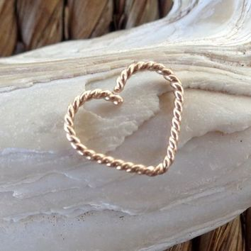 Heart Daith Twisted piercing ring cartilage,helix,tragus,ear hoop earring
