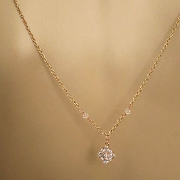 SERENA Bridal BackDrop Necklace Rose Gold Wedding Back Necklace