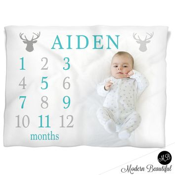 Deer Antler Milestone Name Blanket for Baby Boy, personalized growth baby gift, personalized photo prop blanket - choose your colors