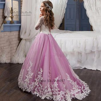 Lavender Prom Dresses Girls Long Sleeve Flower Girl Dress 2017 Lace Graduation Dresses Kids Evening Gowns Long First Communion