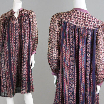 Vintage 70s Indian Cotton Gauze Tent Dress Block Print Paisley Dress Hippy Dress Sheer Sleeves Gypsy Dress Made in India Ethnic Dress 1970s