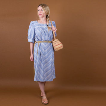 chevron stripe tent dress / 70's blue + white stripe muumuu / large market dress / retro boho hippie / oversized moo moo tunic