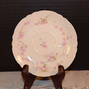 Haviland Limoges France Saucer Vintage Soft Pink Floral Haviland France Limoges Plate Saucer Shabby Chic Cottage Chic Decor Gifts for her