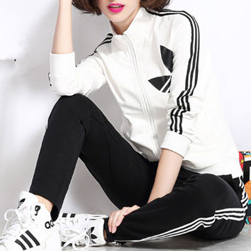 """Adidas"" Fashion Casual Stripe Clover Print Long Sleeve Cardigan Cotton Sweater Set Two-Piece Sportswear"