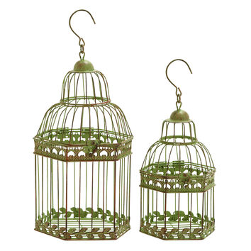 Birdcages In Gold Antique Polish Floral Pattern - Set Of 2