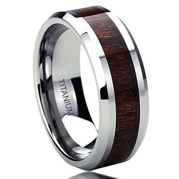 8MM Titanium Comfort Fit Wedding Band Ring Wood Grain Inlay Beveled Edges Ring