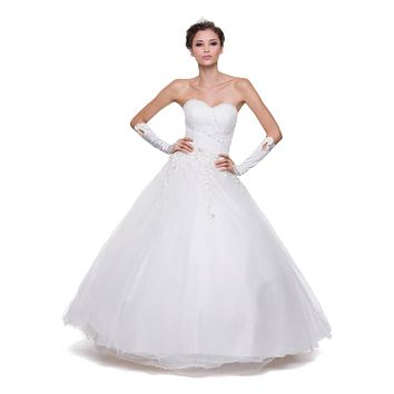 Poofy Off White Quinceanera Tulle Dress A Line Strapless Beading