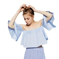 Summer Style Fashion Women's Off Shoulder Smock Top Cute Brief Ruffles Girl's PETITE Structured Bardot Top Short Blouse