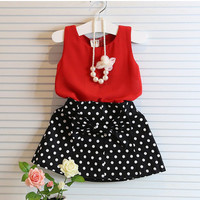 Girls 2 PC Outfit Red Chiffon Vest and Polk-a-dot Skirt