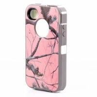 Huaxia Datacom Heavy Duty Defender Hybrid Hard Case Tough Tree Camo Shockproof Dirtproof Defender Case Cover for iPhone 4 4S - Camouflage on white/Pink