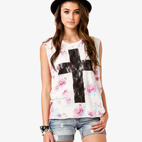 Floral Cross Muscle Tee