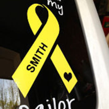 I Love My Sailor Vinyl Car Decal Personalized - Soldier Airman Chief Military