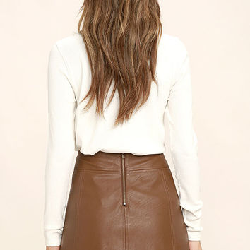 Applause Brown Vegan Leather Mini Skirt