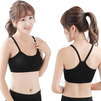 Screaming Retail Price Women Solid Strap Yoga Sports Fitness Bra Cotton Female Sleep Crop Top Sports Vest with 8 Colors