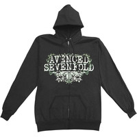 Avenged Sevenfold Men's  Vine Flourish Zippered Hooded Sweatshirt Black